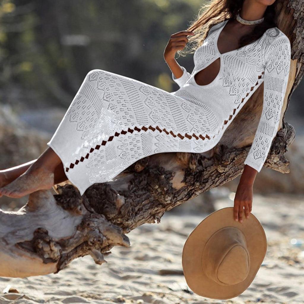 21c7f33947e9 Sexy playa, mujer de ganchillo de las mujeres protector solar cubrir Bikini  traje de baño trajes de ...