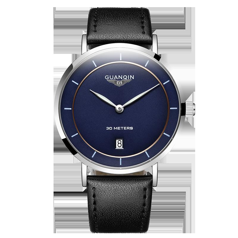 GUANQIN GS19070 watches men luxury brand German Bauhaus style Ultra Thin Quartz Watch Fashion Leather Wristwatch Montre Homme bauhaus bauhaus mask lp cd