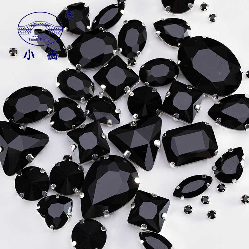 Glitter Mix Size Glass Rhinestones For Sewing Multi Shapes Black Stone Clothing Loose Colored Diy Rhinestone 50PCS/PACK S039