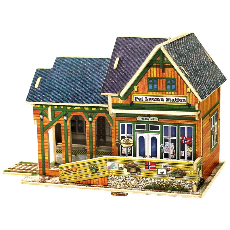 Robotime 3D Wooden Puzzles Norway Railway Station Church Store House Model DIY Jigsaw Educational Toy For Kid Gift