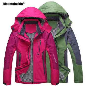 цена на Mountainskin Men Women Spring Autumn Outdoor Hiking Jackets Waterproof Windbreaker Climbing Camping Trekking Rain Coat VA301