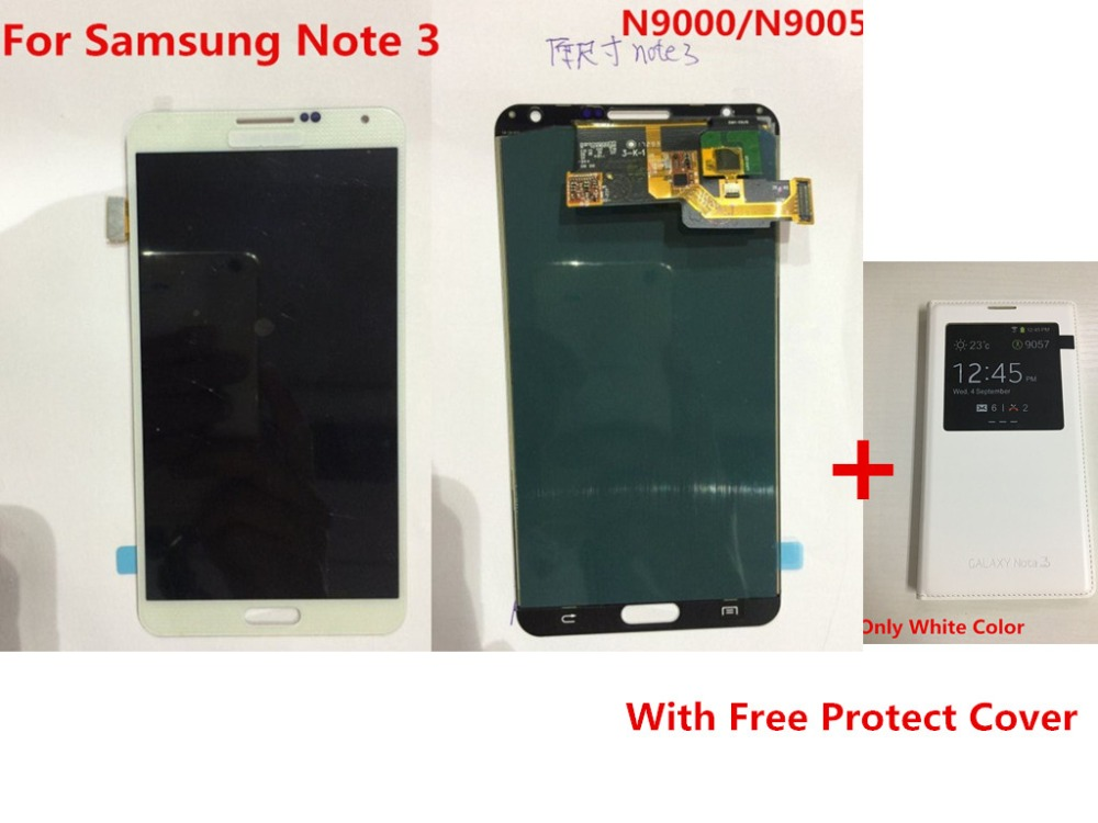 100% Tested AMOLED Note3 <font><b>LCD</b></font> Display Touch Screen Digitizer Assembly With Protect Cover For Samsung Galaxy Note 3 <font><b>N9000</b></font> N9005 image
