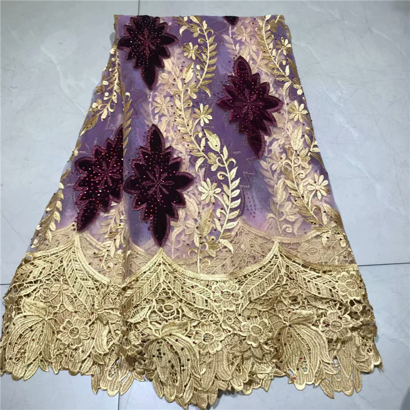 2019 Latest African Velvet Lace Fabrics High Quality Nigerian Tulle Lace Fabric For Wedding African Lace