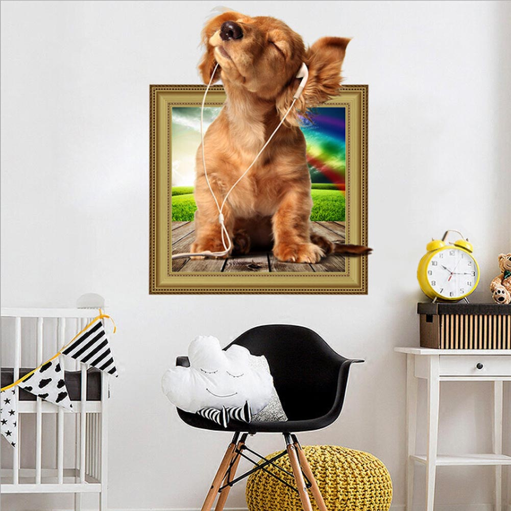New 3d Wearing Headphones Dog Animals Stickers Childrens Room Wall Stickers Living Room Pet Shop Wall Decor Gift