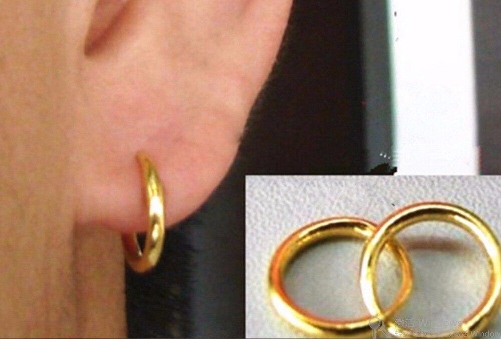 Offre spéciale nouveau authentique solide 999 24 k or jaune boucles d'oreilles/Craved 5*5mm cercle boucles d'oreilles