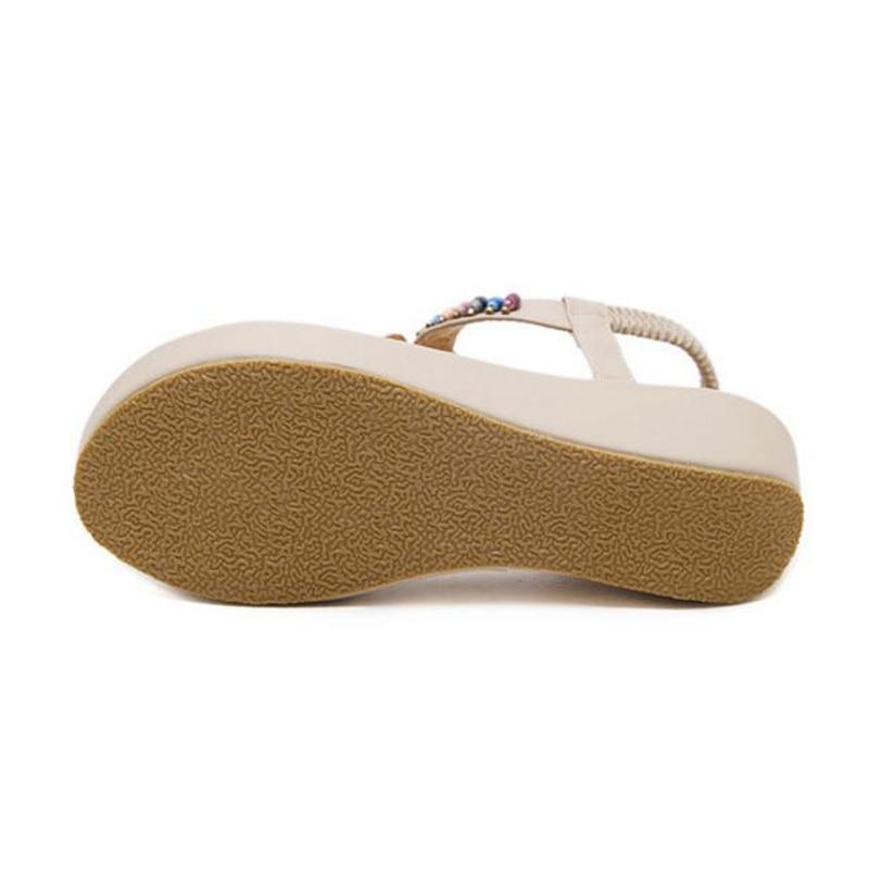 Sandales National D'été Style Appartements noir Perlé Extérieur Chaussures Taille Bohême Apricot forme Mvvjke Femmes Plate Commerce CqIxwEO