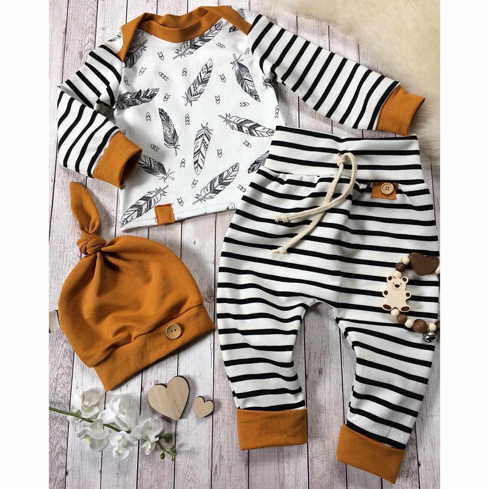 2019 Hot Sale Newborn Baby Boy Girl Feather T shirt Tops Striped Pants Clothes Outfits Set Dropshipping Baby Clothes Kid Clothes