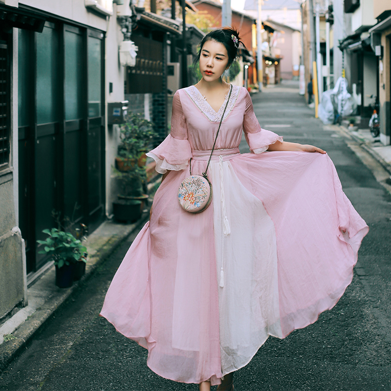 2017 NEW Women Spring Summer Vintage V-Neck Half Flare Sleeve Embroidery Lace Elegant Pink Chiffon Loose Long Dress With Blet