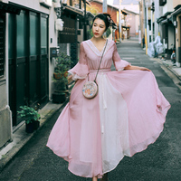 2017 nieuwe vrouwen lente zomer vintage v-hals half flare mouwen borduren lace elegante roze chiffon losse lange dress met blet