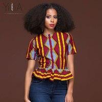 Yilia 2018 New Blouse Shirt Summer Women Fashion African Print Short Sleeve Ruffles Tops Shirts For