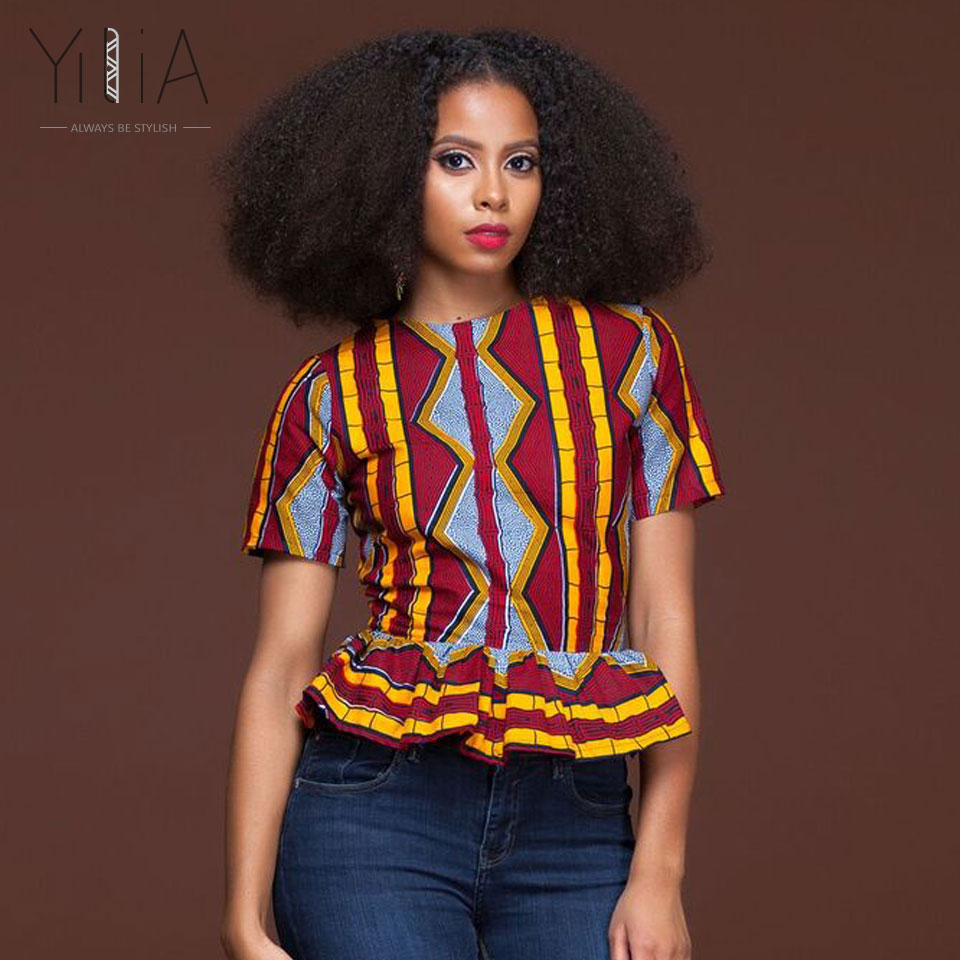 African Print Tops These cheerful, short sleeve African print tops will brighten up you life and wardrobe! They can easily be worn casually with dark blue .