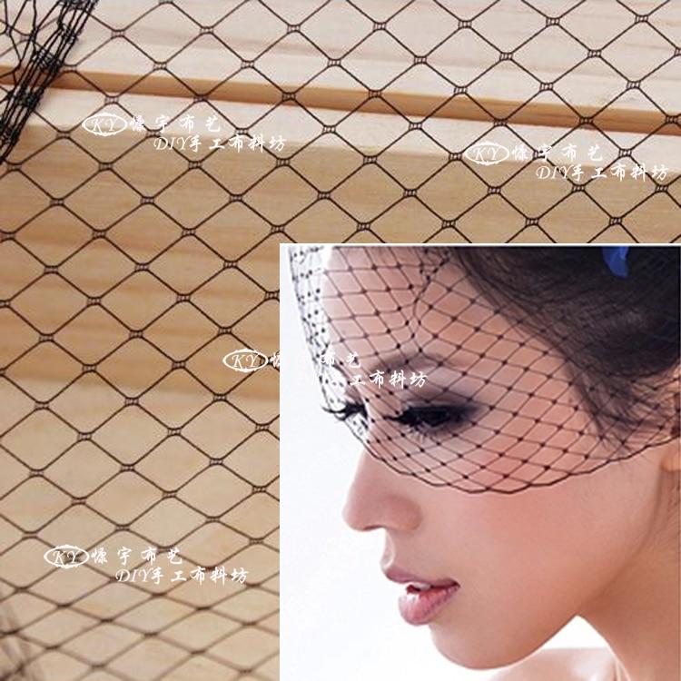 Diamond Big hole Mesh fabric 45 * 100cm Flat Plain Crinoline Braid cloth for Women Veil top hat Tiaras DIY lace Free shipping