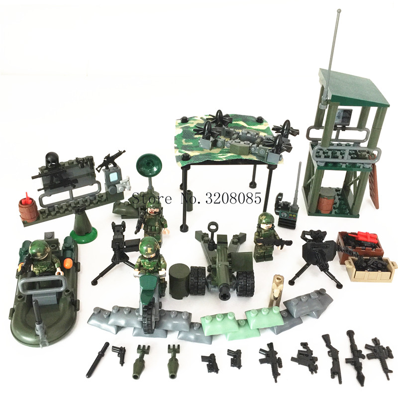 GUDI 4in1 Military Blocks Soldier War Lookout Dog Building Blocks Sets