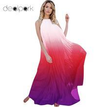 bafd2059509 2018 Summer Long Gown Women Backless Maxi Dress Chiffon Ombre Pleated Dress  Sleeveless Halter Boho Beach