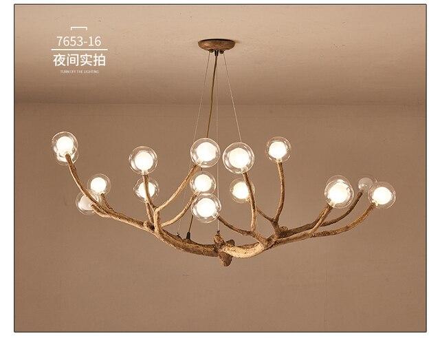 Nordic Personality Creative Bedroom Dining Room Lamp Glass Ball Molecular Branch Chandelier Modern Minimalist Living
