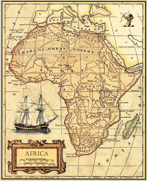 Free ship Vintage AFRICA MAP Oil painting wallpaper wall sticker