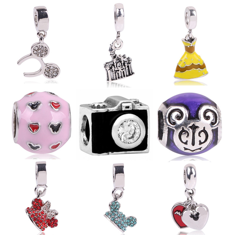 Fashion Perles Jewelry Silver Color Cute Mickey car Mom Bead Bijoux Beads Fit Diy Pandora Charms Bracelet Wholesale diy Beads