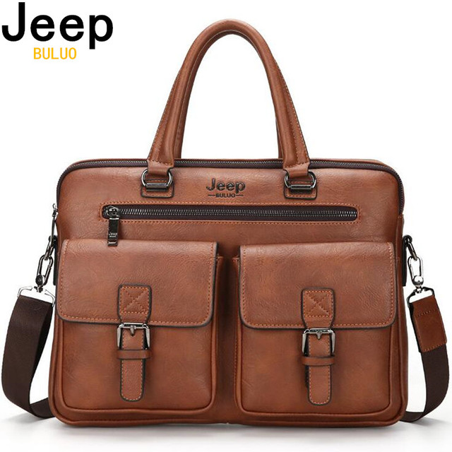 JEEP BULUO Famosa Marca Novo Design dos homens Briefcase Satchel Bags Para Os Homens de Negócios de Moda Saco Saco Do Mensageiro Laptop '14 8001