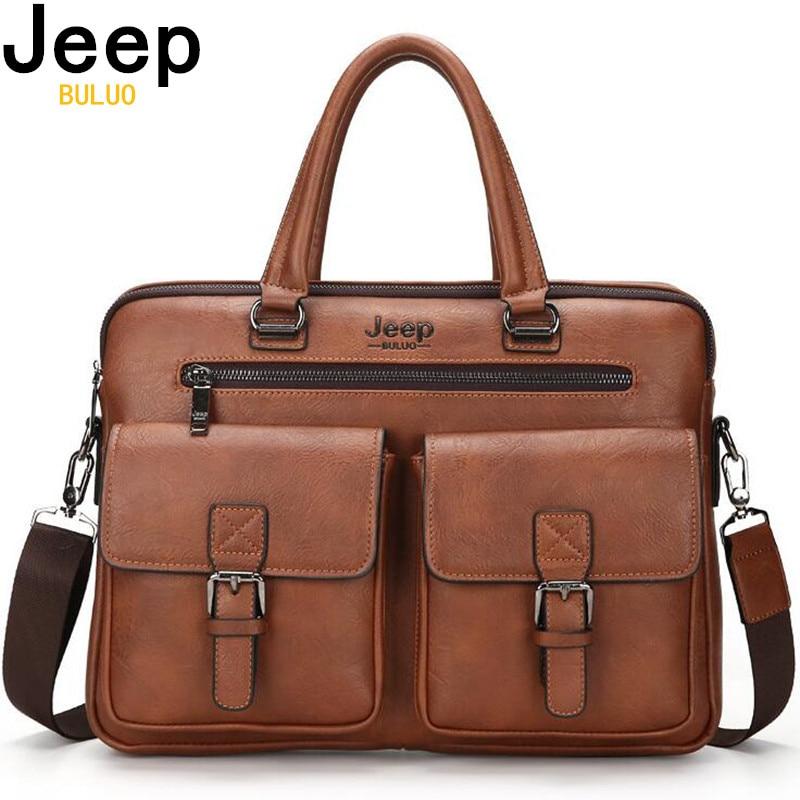 JEEP BULUO Famous Brand New Design Men's Briefcase Satchel Bags For Men Business Fashion Messenger Bag 14' Laptop Bag 8001