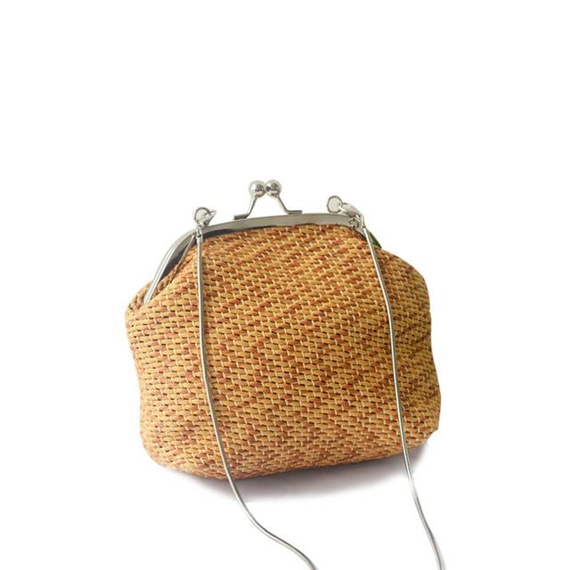 Новые модные летние женские кошелек соломы ткань леди цепи клатч лоскут оболочки плечо пляжные сумки мини кошелек мешок мешком BA208