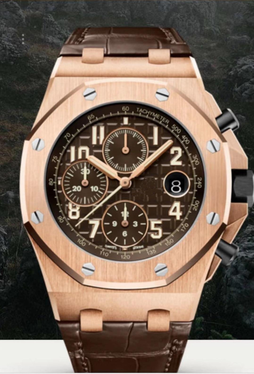Nouveau chronographe en cuir marron de luxe pour hommes montre chronomètre bleu noir café Rose or saphir cristal montres Sport AAA +