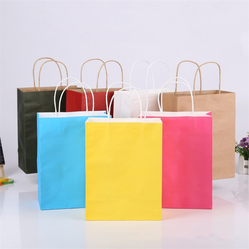 Coloured Paper Bags With Handles Wedding Birthday Christmas Shopping Party Gift