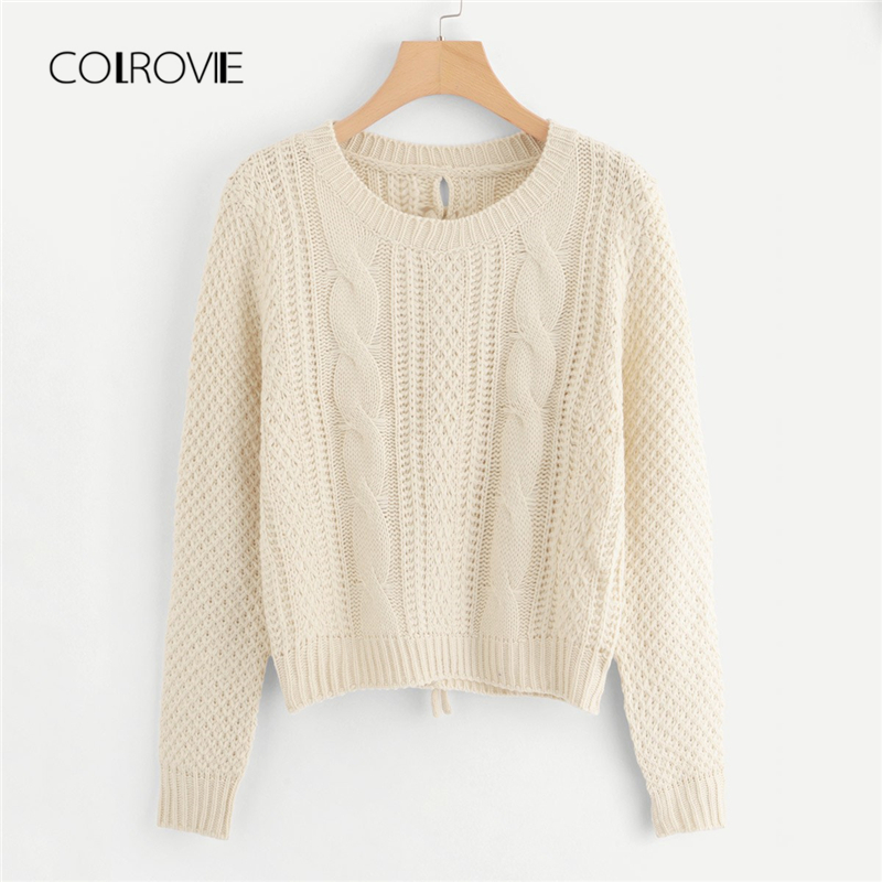 67af0f05f Detail Feedback Questions about COLROVIE Apricot Solid Lace Up Back Cable  Knit Korean Winter Jumper 2018 Autumn Sweet Elegant Pullover Fashion Women  Sweater ...