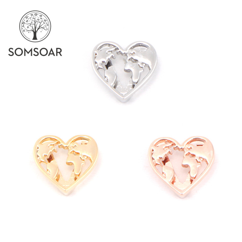 Somsoar Jewelry Travel the world map Slide Charms Heart Charms fit 10mm mesh bracelet & Leather Wrap Bracelets 10pcs/lot