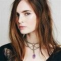 Crystal pendant choker collar mujeres moda joyería de la vendimia collar de gargantillas 2016 collier femme steampunk collar de cadena