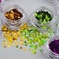 12 Colores en forma de Corazón de Uñas Brillo de Lentejuelas Calcomanías belleza Accesorios de la Decoración Del Arte Del Clavo de manicura herramientas 2017 nueva Llegada