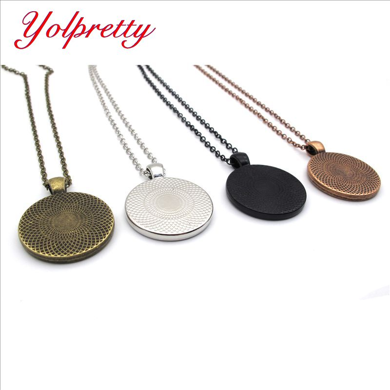 Yolprtty New Fashion 3pcs 25mm Inner Size Rhodium Colors Classic Cabochon Base Setting Charms Pendant findings with chains in Jewelry Findings Components from Jewelry Accessories
