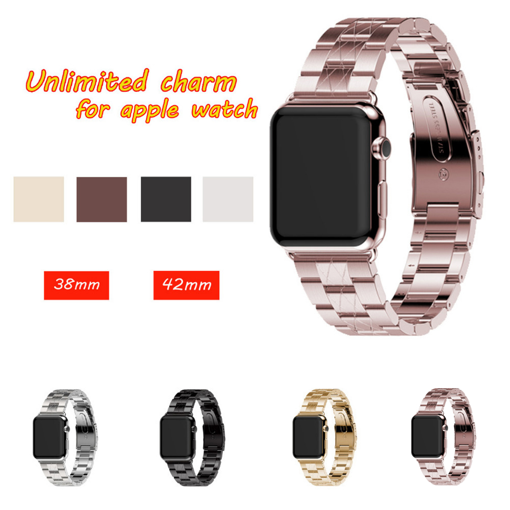 Stainless Steel Watch Strap For Apple Watch band strap 42mm 38mm for men & women metal Link Bracelet Watchband For iWatch 3/2/1 wholesale5pcs stainless steel metal strap band 3 ball link bracelet for apple watch i watch 42mm rose gold