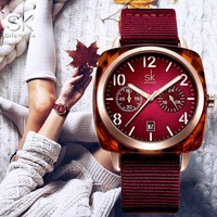 SHENGKE Fashion Female Bracelet Clock bayan kol saati SK Women Wrist Watch Case Nylon Luxury Quartz Watch Relogio Feminino 2019