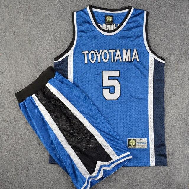 fba1f9816 Slam Dunk Cosplay Costume Basketball TOYOTAMA No. 5 Kishimoto Jersey+Shorts  Men Athletic Apparel School Basketball Team Uniform