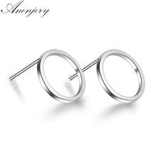 Anenjery 925 Sterling Silver Hollow Geometric Circle Square Triangle Stud Earrings For Women Silver 925 Jewelry Oorbellen S-E535 cheap TRENDY Metal Fashion Screw-back