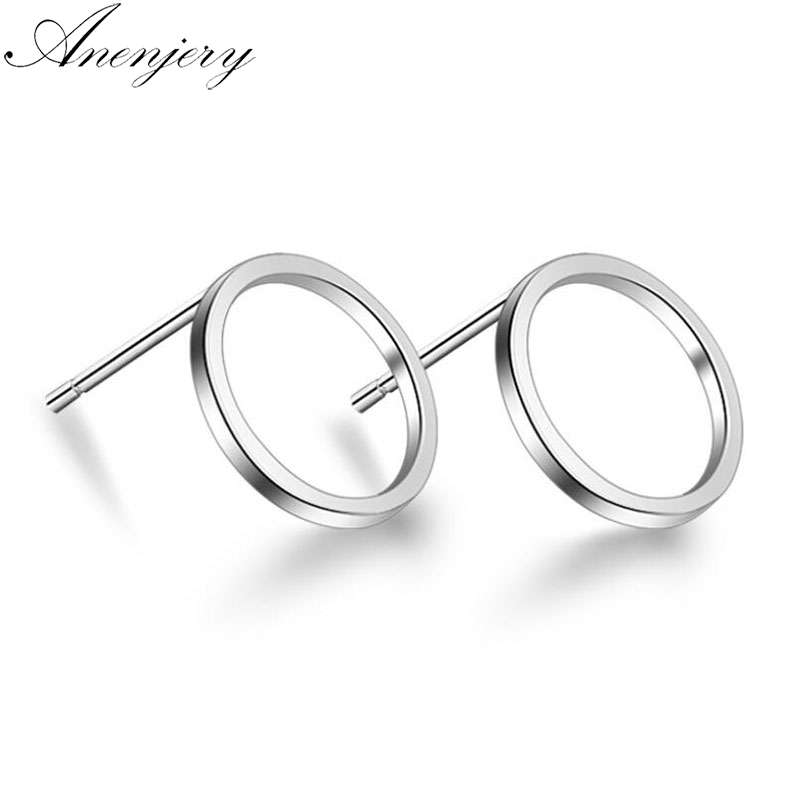 Anenjery 925 Sterling Silver Hollow Geometric Circle Square Triangle Stud Earrings For Women Silver 925 Jewelry Oorbellen S-E535