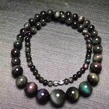 Collar de piedra de Obsidiana Natural negra con ojo de arco iris, collar de cadena con cuentas redondas para hombres y mujeres, joyería de moda JoursNeige
