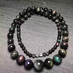 Image 1 - Fine Rainbow Eye Black Natural Obsidian Stone Necklace Round Bead Tower Chain Necklace for Women Men Fashion Jewelry JoursNeige