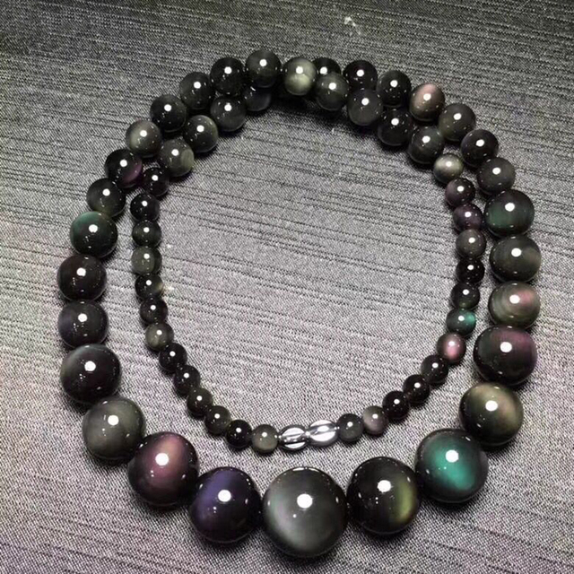 Fine Rainbow Eye Black Natural Obsidian Stone Necklace Round Bead Tower Chain Necklace for Women Men Fashion Jewelry JoursNeige