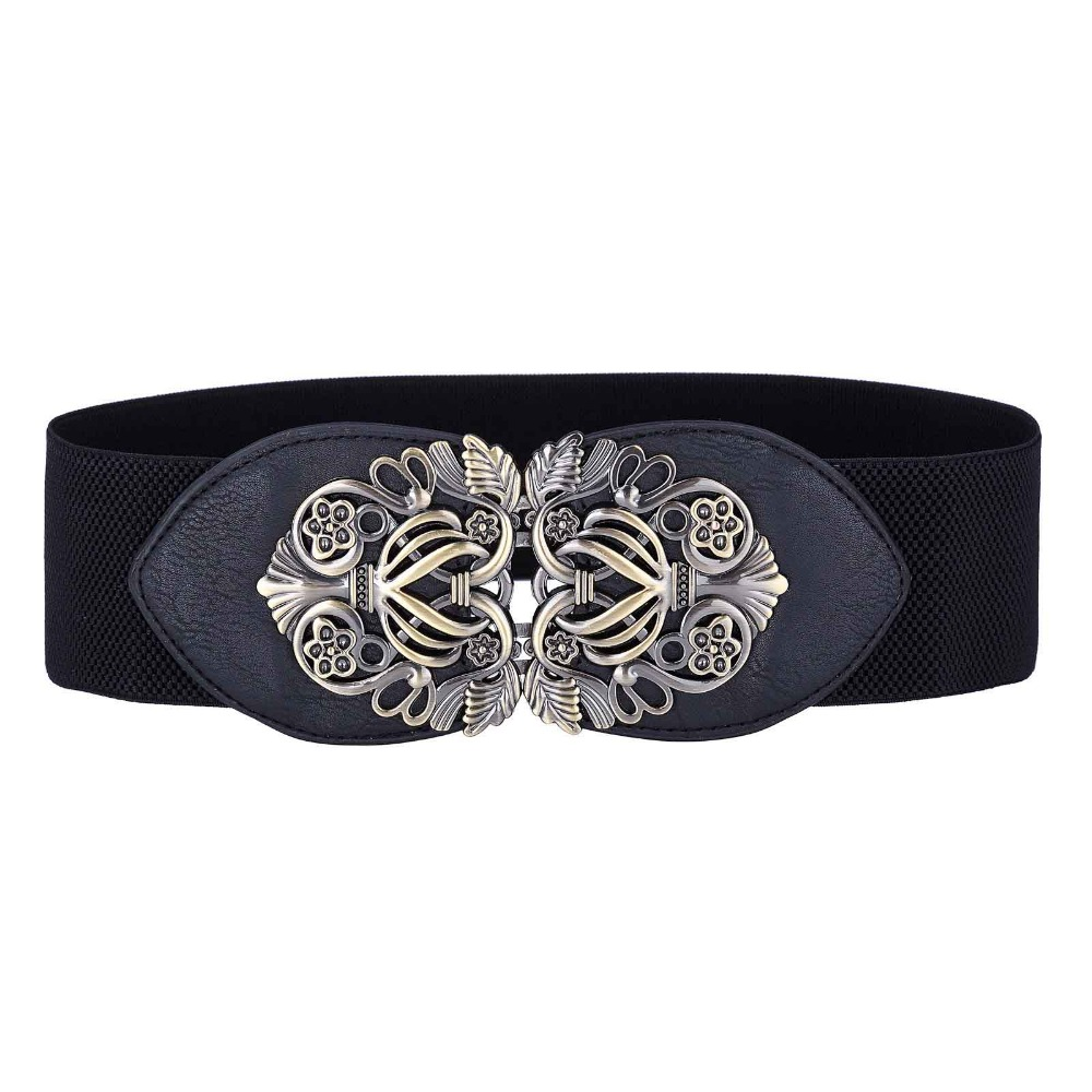 Ladies Elastic Belts Plus Size PU Leather Stretchy 2018 Metal Hook Waist Belt Waistband Designer Woman Belts for Women Dress