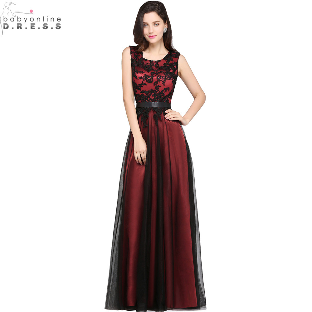 Robe de Soiree Longue Elegant Black Lace Red Evening Dress  Long Cheap Appliques Chiffon Evening Gown Vestido de Festa