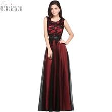 Robe de Soiree Longue Elegant Black Lace Red Evening Dress 2017 Long Cheap Appliques Chiffon Gown Vestido Festa