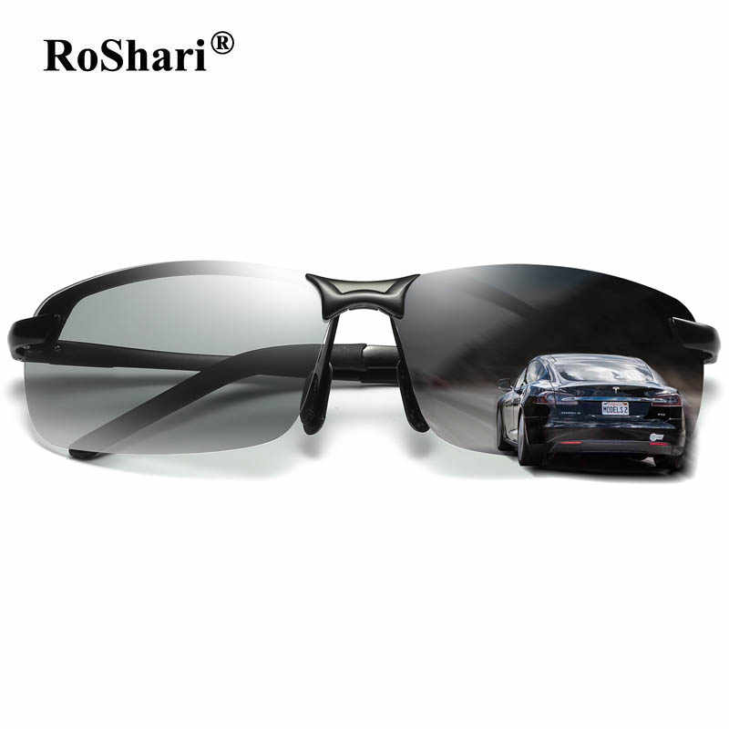 4937f86a1ae ... RoShari Driving Photochromic Sunglasses Men Polarized Chameleon  Discoloration Sun glasses for men eyeglasses gafas de sol ...