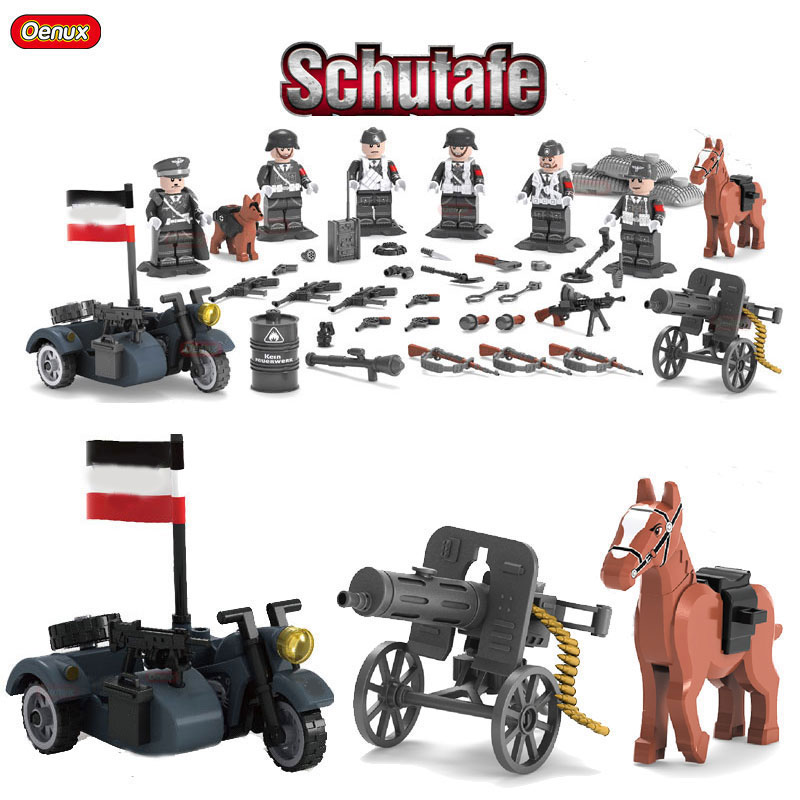 Oenux 2017 WW2 German Leibstandarte SS AH Panzer Division Guard With KS750 Motorcycle And Cannon Model Building Block Brick Toy