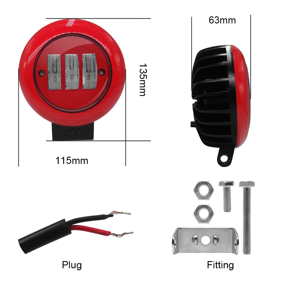 Image 3 - 1pcs 30W Red Round Work Light Spot Spotlight For Offroad Truck Tractor SUV Driving Lamp 4000lm Flux 6000K Red Round Work Light-in Light Bar/Work Light from Automobiles & Motorcycles