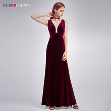 Elegant New Year Velvet Long Evening Dresses Ever Pretty EP07182 Sexy Double V Neck Christmas Evening Dresses 2017 Formal Gowns(China)