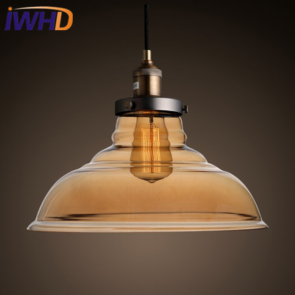 IWHD Edison Style Loft Industrial Pendant Lights Retro Glass Hanging Lamp Vintage Kitchen Light Fixtures Dining Room Luminaire 16 retro european style tiffany stained glass inverted pendant lamp vintage hanging light kitchen dining room fixtures pl802