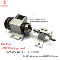 CNC Dividing Head Rotary Axis + Tailstock 4th Axis Nema17 Motor + K01 50 50mm 3 Jaw Self Centering Lathe Chuck for Woodworking