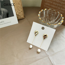 GWACC 2019 Long Natural Freshwater Pearls Drop Earrings For Women Girls Gold Silver Color Irregular Simple Fashion Jewelry boho