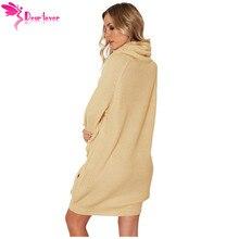Dear Lover Sweater Dresses for Winter Women Gray Heap Collar Long Sleeve Mini Knit Dress with Pocket Turtleneck Vestidos LC27947